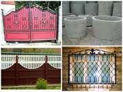 Металлические ворота,  еврозаборы,  сливные ямы,  септики,  плитка