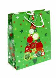 M7-110034,  Декоративный подарочный пакет,  зеленый-разноцветный